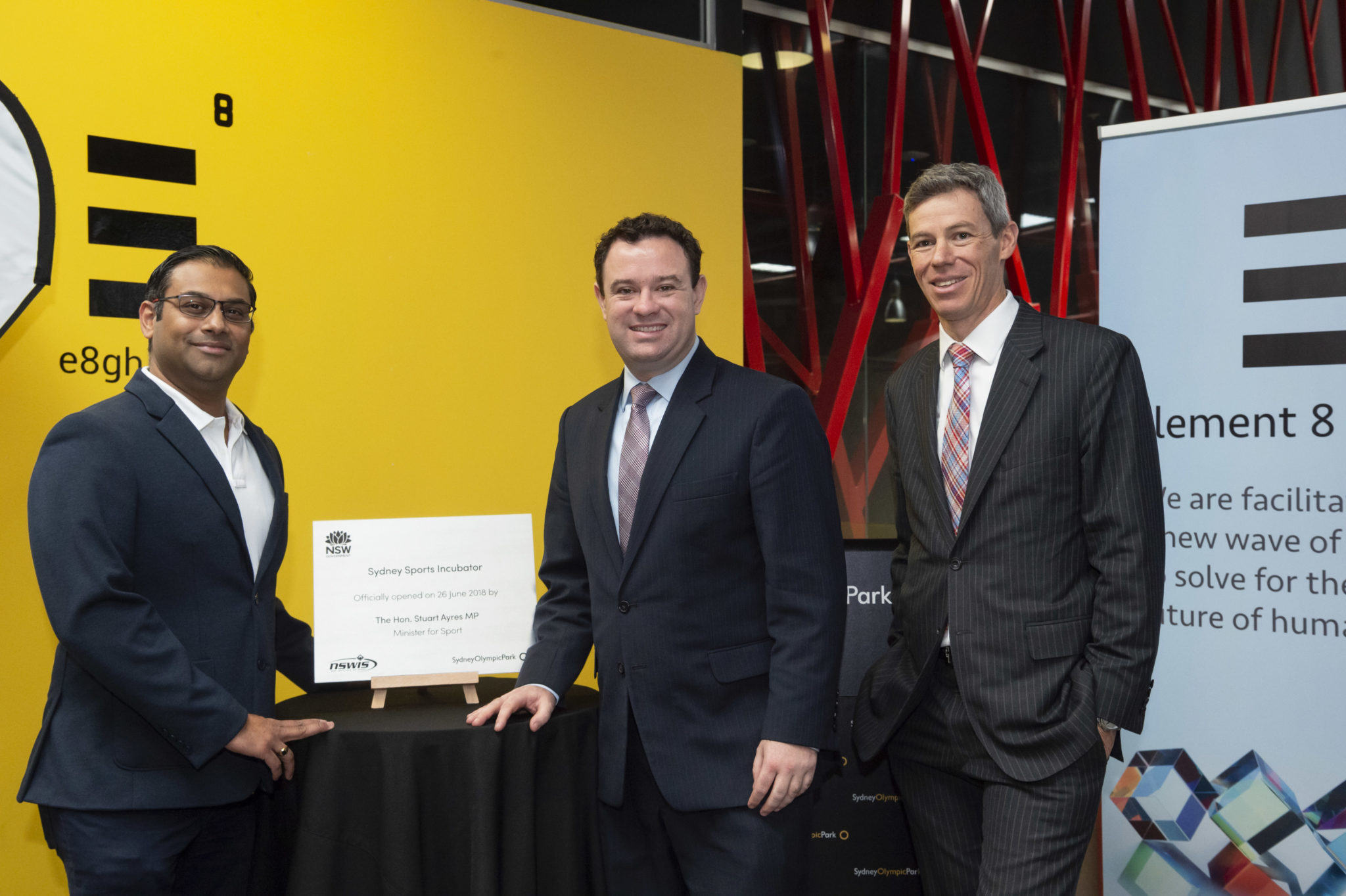 [L to R] Element 8 Ventures Harish Palagummi, Minister for Sport Stuart Ayres and Sydney Olympic Park Authority Charles Moore.jpg